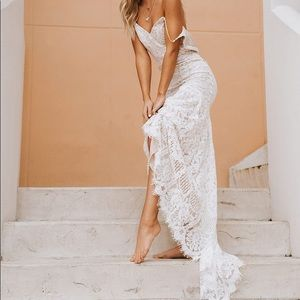 Lulus Flynn White Lace Maxi Dress